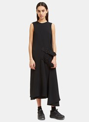Acne Studios Scilla Long Crepe Buckled Wrap Dress Black