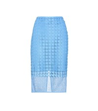 Diane Von Furstenberg Layered Lace Pencil Skirt Blue