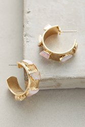 Anthropologie Pink Opal Mini Hoops Gold