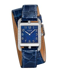 Hermes Cape Cod Gm Watch With Alligator Embossed Leather Strap Navy