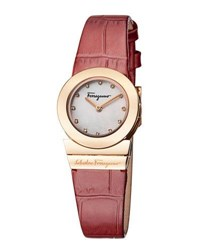 Salvatore Ferragamo 24Mm Gancino Soiree Watch W Diamonds And Leather Strap White