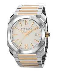 Bulgari Octo 18K Pink Gold And Stainless Steel Bracelet Watch Rose Gold Silver