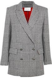 Balmain Pierre Double Breasted Houndstooth Tweed Blazer Black