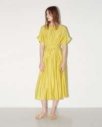 Black Crane Pleated Dress Yellow