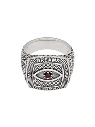 Tom Wood Sterling Silver And Garnet Champion Red Eye Ring