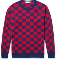 Marc Jacobs Distressed Checkerboard Wool Sweater Blue