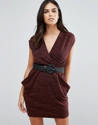 Pussycat London Belted Wrap Dress Brown