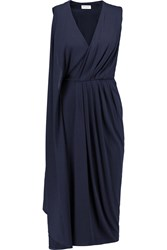 Vionnet Draped Crepe Midi Dress Blue