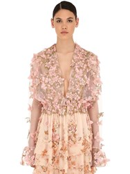 Luisa Beccaria Embellished Tulle Top Pink