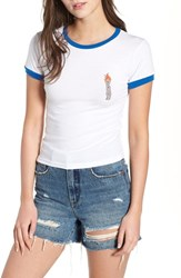 Obey Flame Tiny Ringer Tee White Royal Blue
