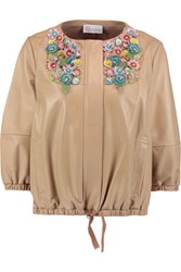 Red Valentino Redvalentino Applique Paneled Leather Jacket Multi