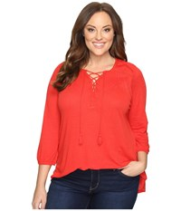 Lucky Brand Plus Size Lace Front Peasant Goji Berry Women's Clothing Mahogany