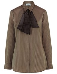 Isa Arfen Knot Cuff Stripe Shirt In Mudd Club Brown Striped