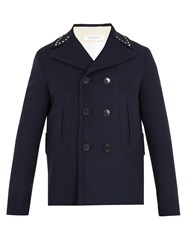 Valentino Rockstud Double Breasted Wool Pea Coat Navy