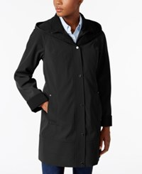 Jones New York Two Toned A Line Hooded Raincoat Black Taupe