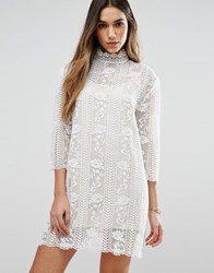 Jovonna Table Maner High Neck Lace Dress White