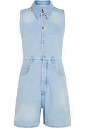 Maison Martin Margiela Mm6 Frayed Denim Playsuit Light Denim