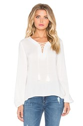 Glamorous Lace Up Long Sleeve Top White