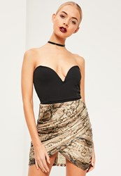 Missguided Sequin Snake Print Wrap Front Mini Skirt Brown