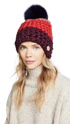 Mischa Lampert Deep Beanie Hat Mulberry Red Aubergine Navy