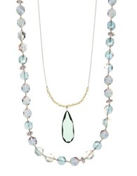Lonna And Lilly Two Row Nested Pendant Necklace Blue