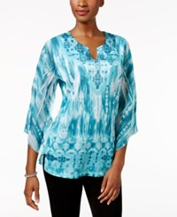Jm Collection Petite Sublimated Print Tunic Only At Macy's Thrilling Teal