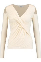 Bailey 44 Angela Draped Stretch Jersey Top Cream