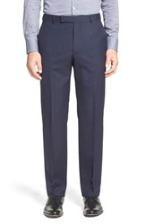 Men's Z Zegna Flat Front Solid Wool Trousers Navy