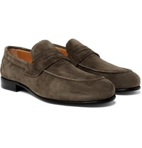 O'keeffe Suede Penny Loafers Green
