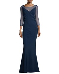 La Petite Robe Di Chiara Boni 3 4 Sleeve Cross Front Ponte Illusion Gown Blue Notte