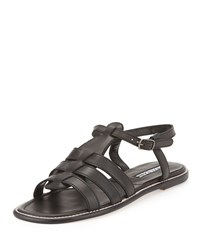 Manolo Blahnik Canale Leather Caged Flat Sandal Black Women's