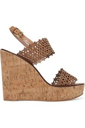 Tory Burch Laser Cut Leather Wedge Sandals Us8.5
