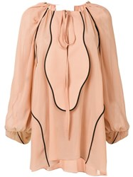 Genny Contrast Trimmed Blouse Neutrals