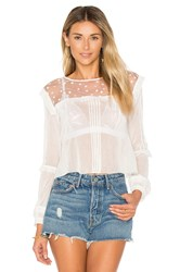 For Love And Lemons Cosmos Pintuck Blouse White