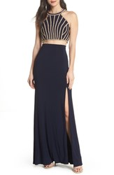 Xscape Evenings Beaded Top Two Piece Dress Navy Gold