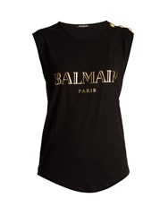 Balmain Logo Print Cotton Jersey Tank Top Black