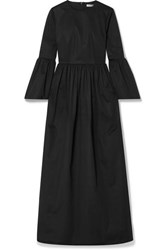 The Row Sora Cotton Blend Poplin Maxi Dress Midnight Blue