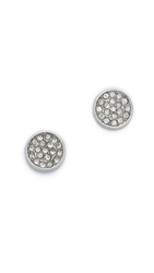 Rebecca Minkoff Military Mix Disc Stud Earrings Antique Rhodium Crystal