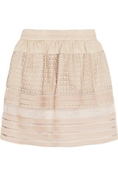 Chloe Crochet Paneled Tiered Cotton Mini Skirt Beige