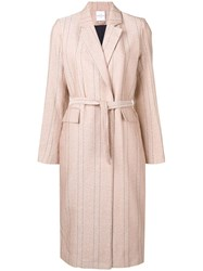 Roseanna Belted Pinstripe Coat Pink