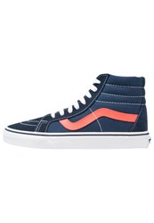 Vans Sk8 Reissue Hightop Trainers Dress Blues Neon Red Dark Blue