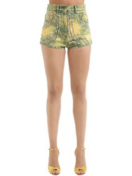 Gucci Studded Marble Washed Denim Shorts Yellow