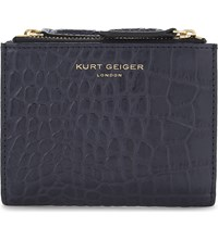 Kurt Geiger London Mini Faux Croc Leather Wallet Navy