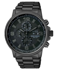 Citizen Men's Chronograph Eco Drive Nighthawk Black Ion Plated Stainless Steel Bracelet Watch 43Mm Ca0295 58E