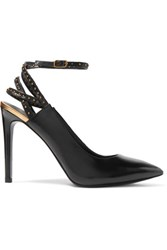 Balmain Pierre Studded Glossed Leather Pumps Black