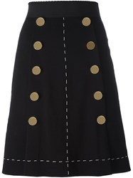 Dolce And Gabbana A Line Buttoned Skirt Black
