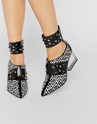 Jeffrey Campbell Studded Suede Clear Heeled Shoes Black White Printed Multi