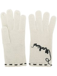 Moschino Vintage Embroidered Gloves Nude And Neutrals