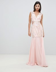 Forever Unique Cut Out Embellished Maxi Dress Pink