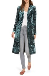 Leith Women's Long Velour Jacket Green Wood